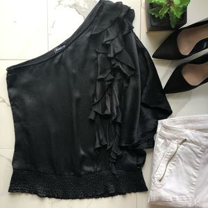 Bebe Black One Shoulder Silk Ruffle Blouse